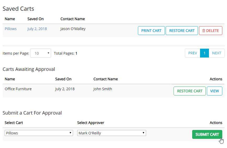 Submitting a cart for approval