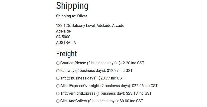 Website Freight Integration