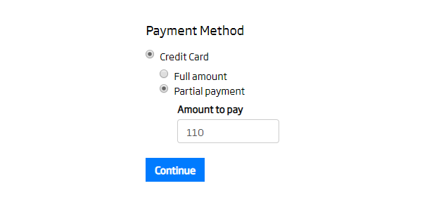 Partial Credit Card Payments