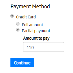 Shown on the Payment Terms page during Checkout