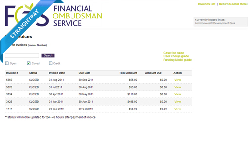 Financial Ombudsman Service (Invoice Presentment and Payment)