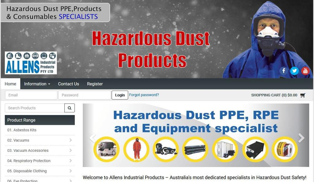 Allens Industrial Products clean up with the launch of their new Hazardous Dust Products MYOB Exo integrated eCommerce website