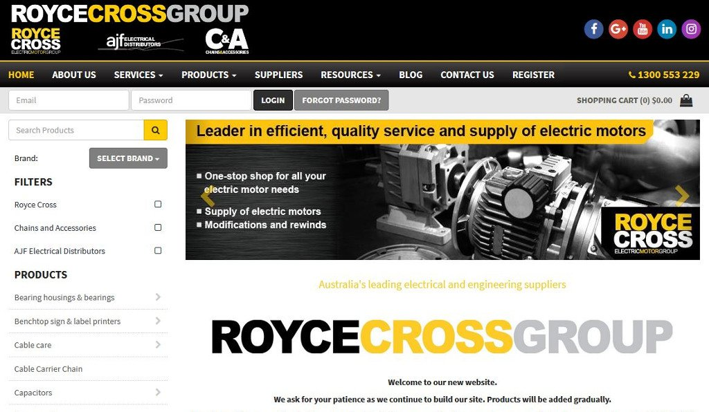 Royce Cross Group powers up their online presence with the launch of an upgraded MYOB Advanced integrated eCommerce website!
