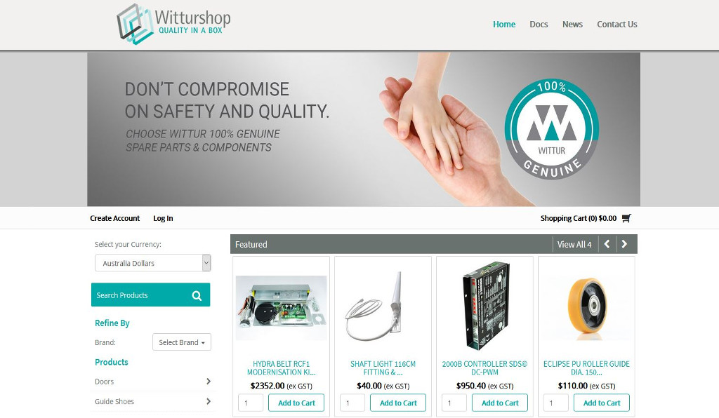 Wittur Australia elevate their online presence with the launch of a new MYOB Exo integrated eCommerce spare parts website for Australian customers